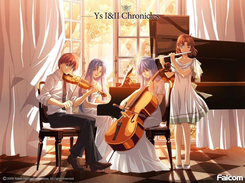 anime girl cute beautiful dress long hair group musical instrument boy violin piano wallpaper