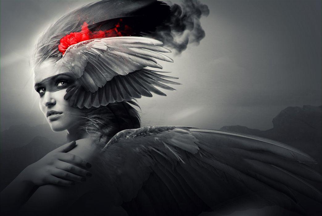 fantasy girl b-w face beauty beautiful red wings woman wallpaper