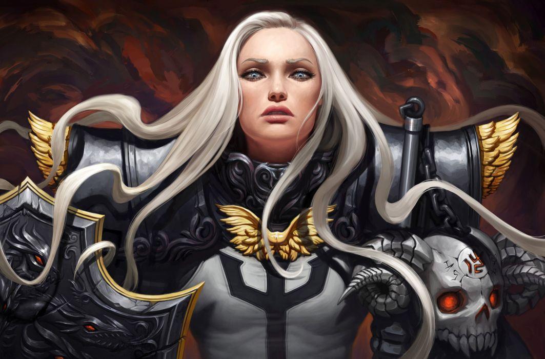 fantasy girl beauty beautiful long hair woman warrior blue eyes wallpaper