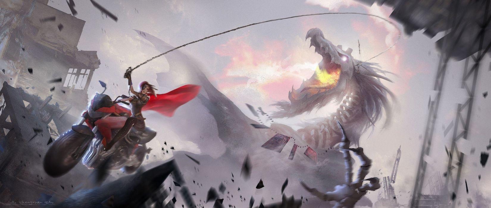 fantasy girl beauty beautiful long hair woman warrior dragon wallpaper