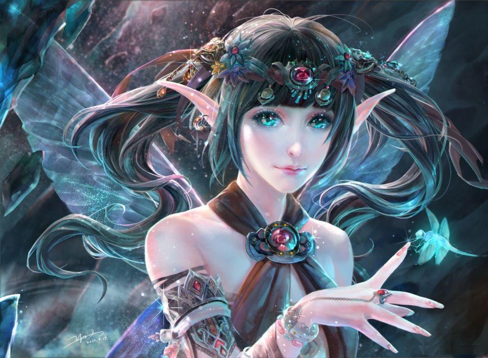 fantasy girl beauty beautiful long hair wing woman elf magic fairy wallpaper