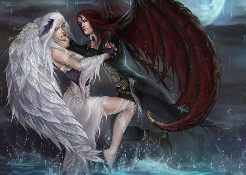 angel wings fantasy girl beauty beautiful long hair woman devil dress water rain wallpaper