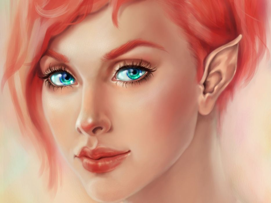 fantasy girl beauty beautiful short hair woman elf smile blue eyes wallpaper