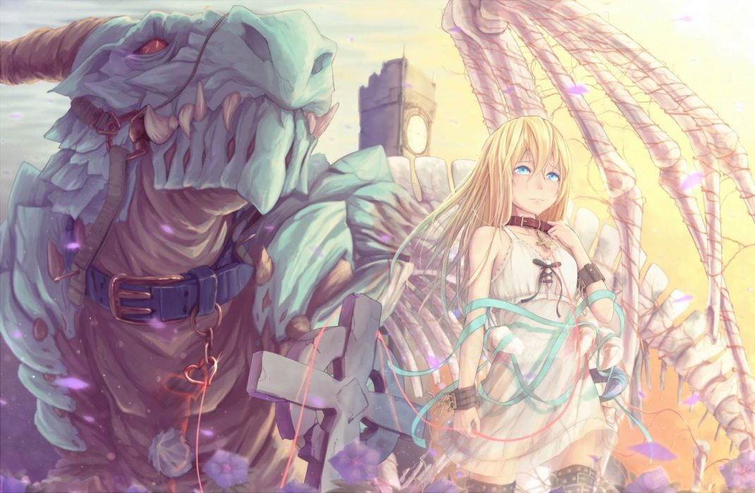 anime girl beauty beautiful long hair monster blonde cry wallpaper