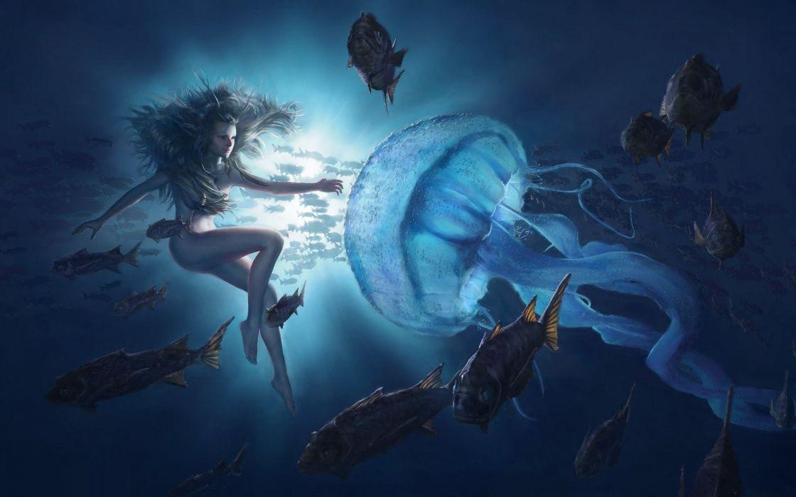 fantasy girl beauty beautiful long hair woman water fish animal jellyfish wallpaper