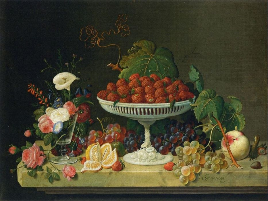 art oil painting fruits table beauty wallpaper