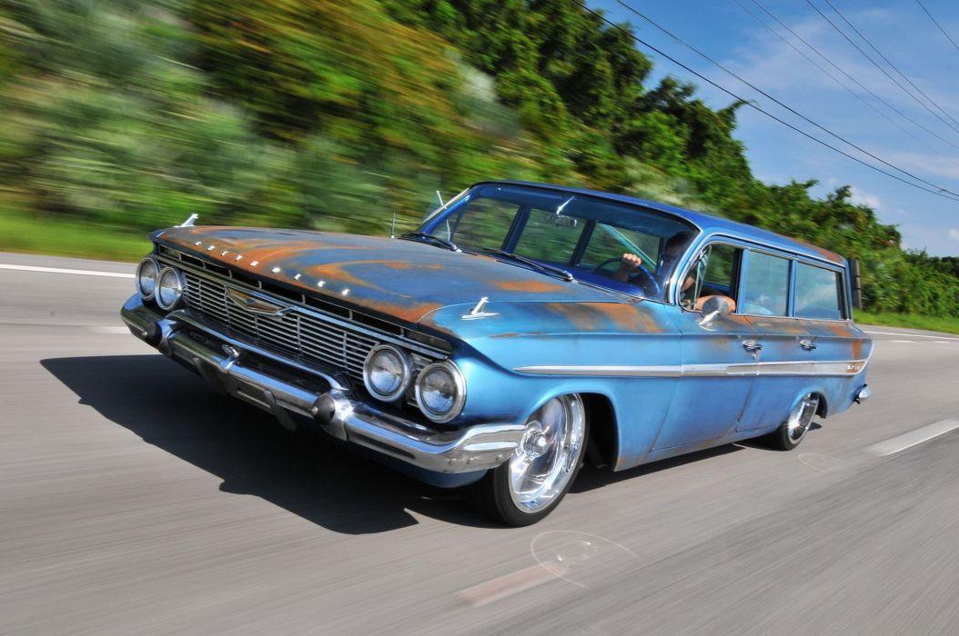 1961 Chevrolet Chevy Nomad Wagon Streetrod Street Rod Low Rodder USA -03 wallpaper
