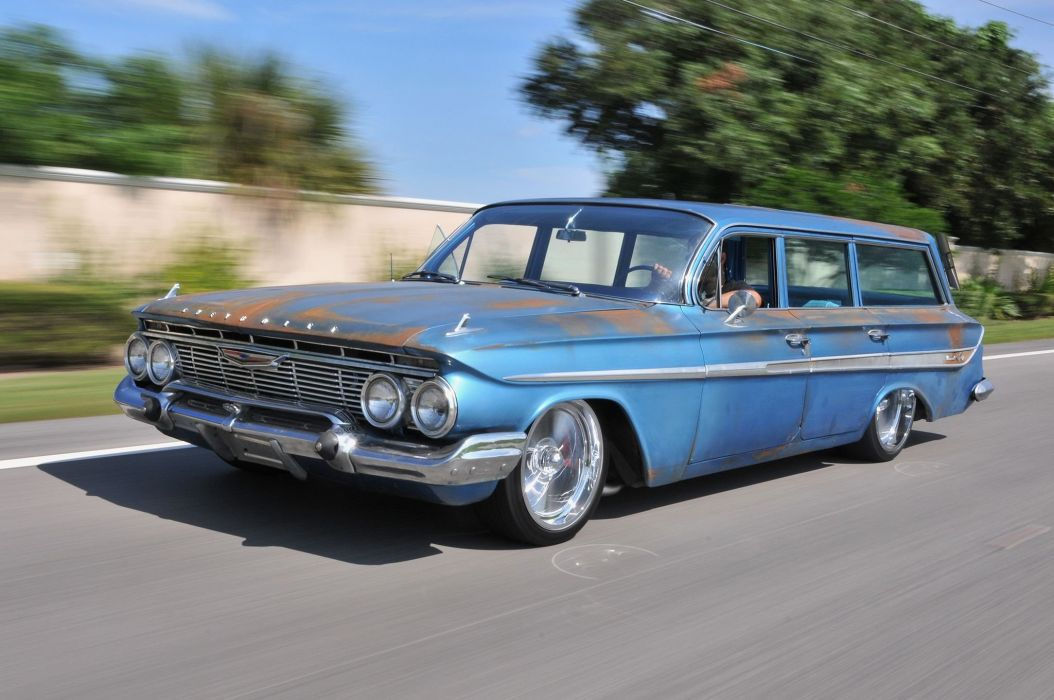 1961 Chevrolet Chevy Nomad Wagon Streetrod Street Rod Low Rodder USA -01 wallpaper