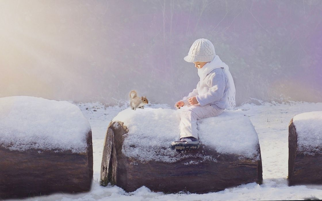 children beauty beautiful angel cute squirrel snow winter boy wallpaper
