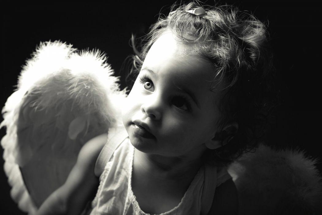 children beauty beautiful angel cute b-w wings wallpaper