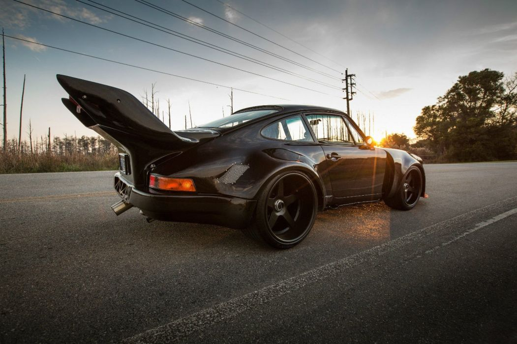 Modified Porsche 930 Turbo cars coupe black bodykit wallpaper
