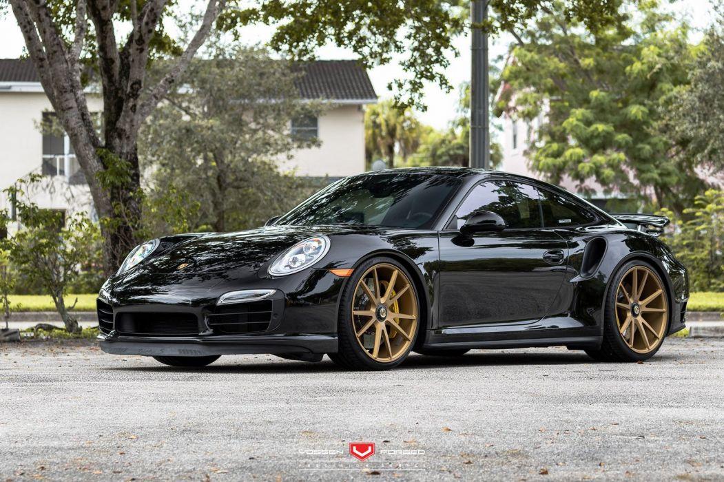 Porsche 911 Turbo-S cars black vossen wheels wallpaper