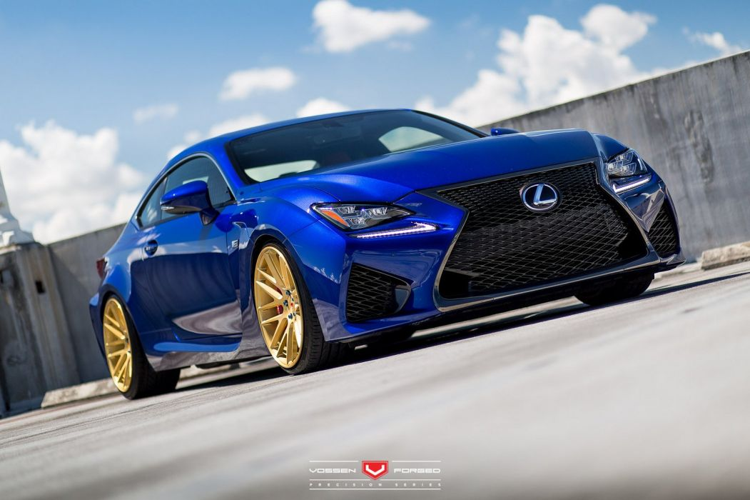 Lexus RC-F cars blue coupe vossen wheels wallpaper