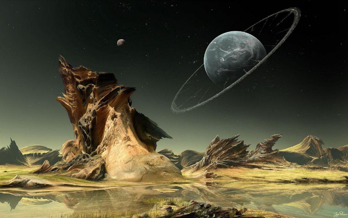 abstracto sci fi planeta alienigena wallpaper