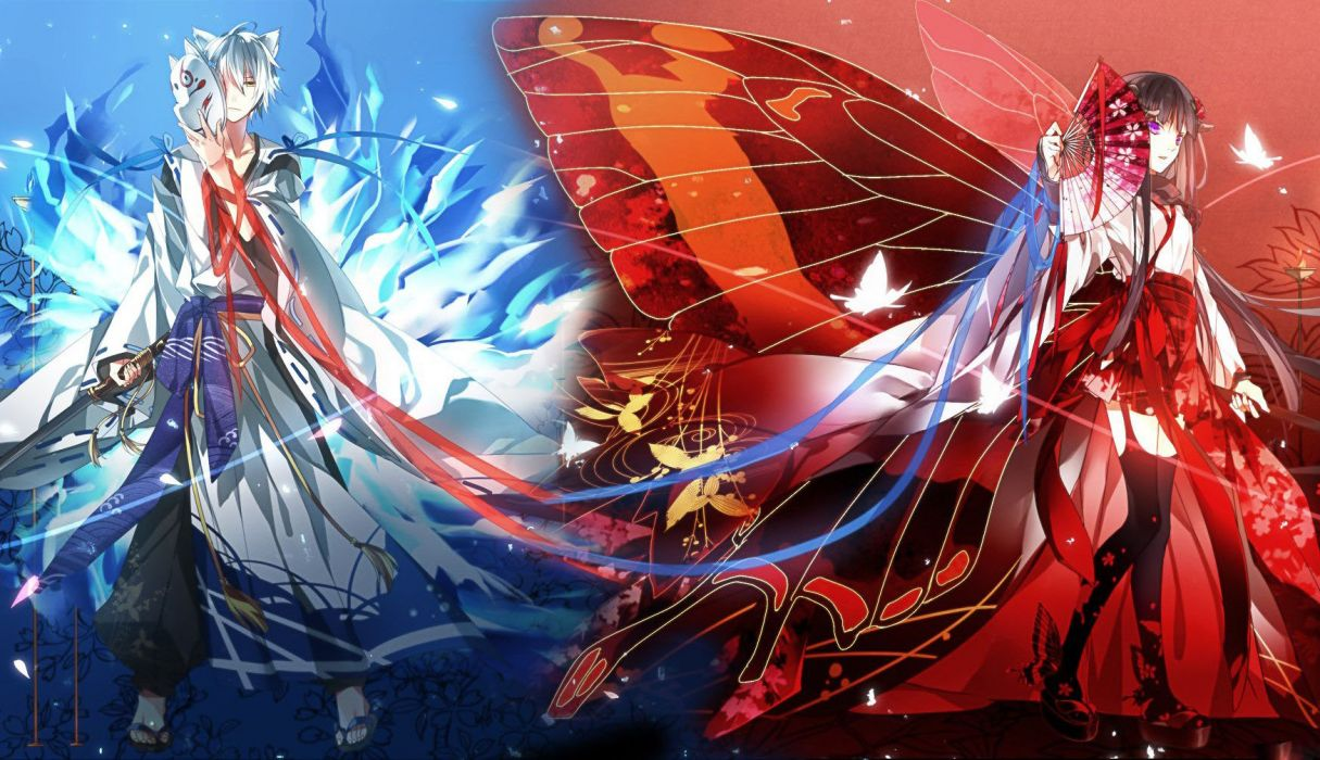 anime character red blue wings couple kimono girl male wallpaper