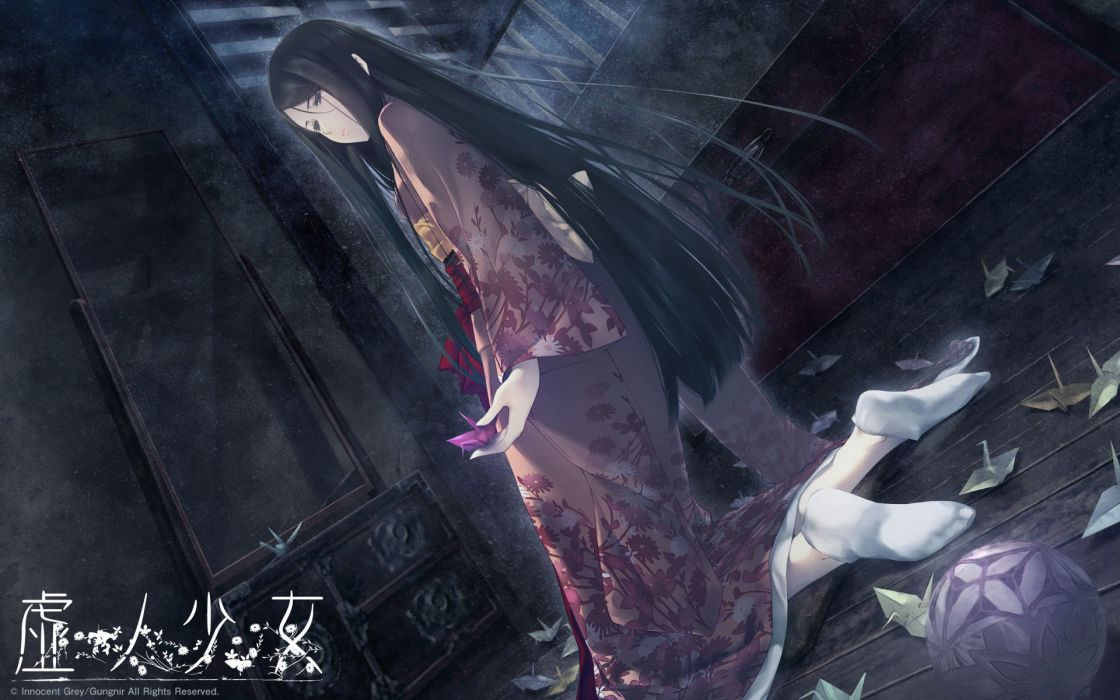 Innocent Grey anime character series beautiful long hair girl kimono wallpaper