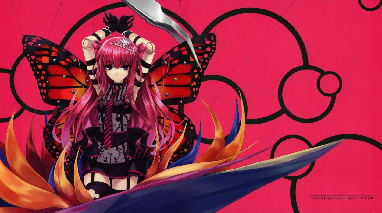 Beatmania anime character series girl butterfly wing pink beautiful cool wallpaper