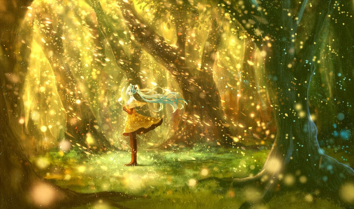 anime character series beautiful girl vocaloid forest alone wallpaper