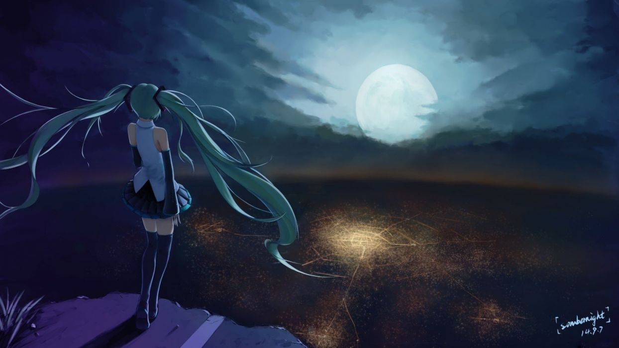 anime character series beautiful girl vocaloid moon sky alone wallpaper