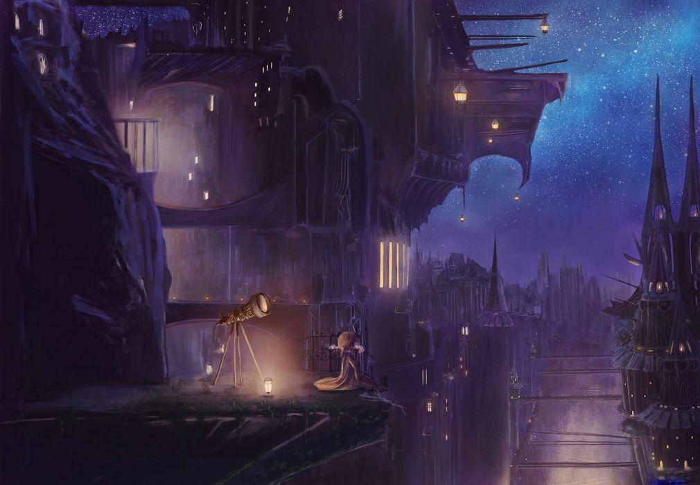 anime city sky light night original stars wallpaper