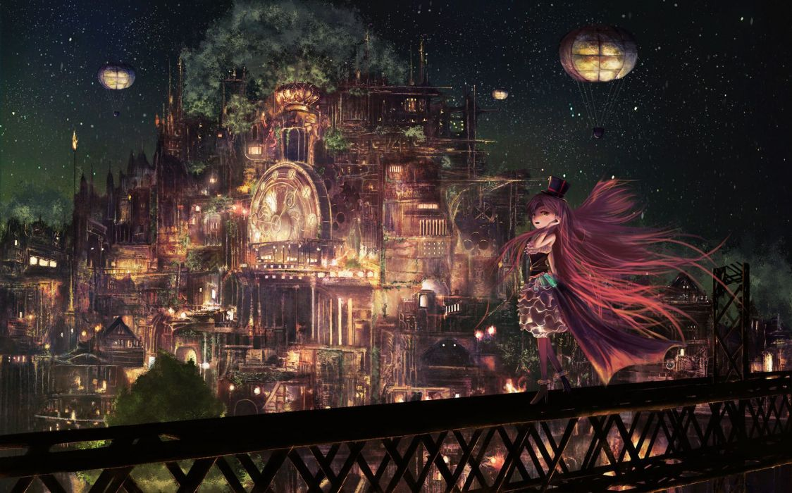 anime city sky light night original stars girl long hair wallpaper