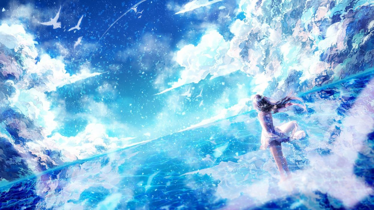 Anime Bird Sky Light Dress Long Hair Original Blue Girl Beauty Wallpaper