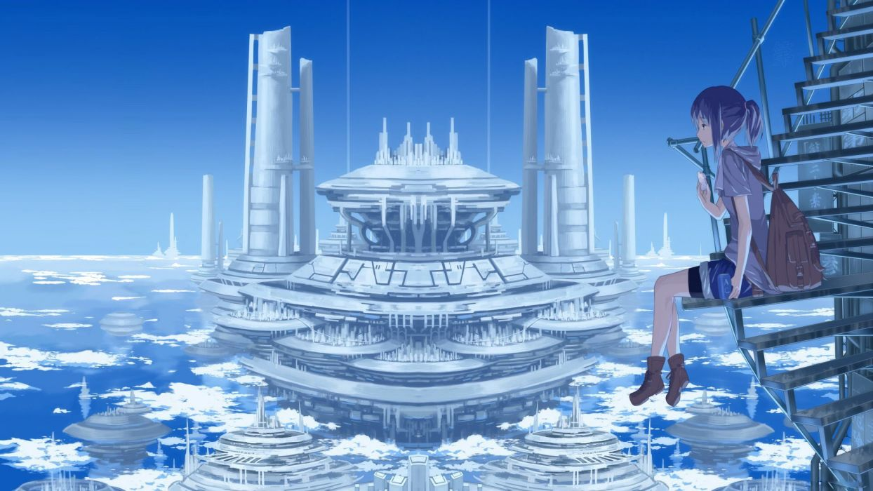 anime fly sky light dress long hair original city girl beauty wallpaper