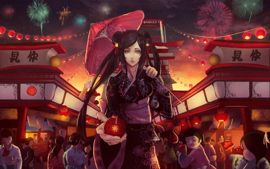 anime girl kimono series beautiful festival wallpaper