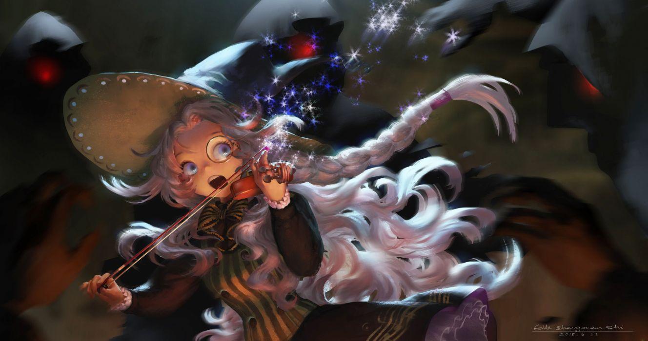 original anime girl violin magic music dress long hair wallpaper