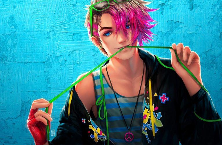 original pink hair cool boy anime blue eyes wallpaper