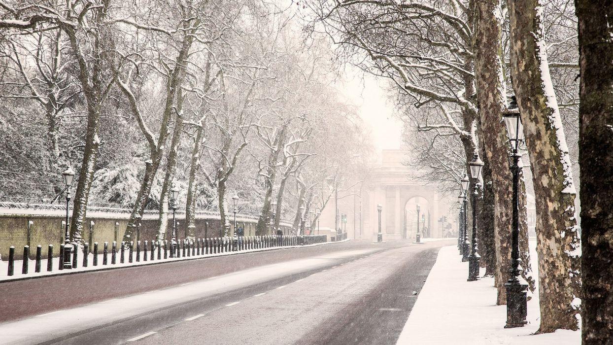 london winter snow tree road wallpaper