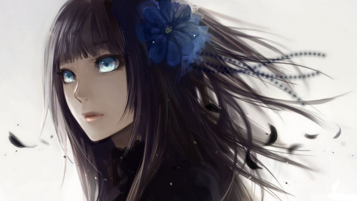 Anime girl with black hair blue eyes with blue flower wallpaper