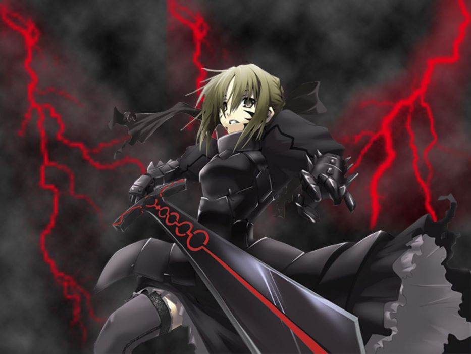 Anime girl with short blonde hair brown eyes with sword wallpaper