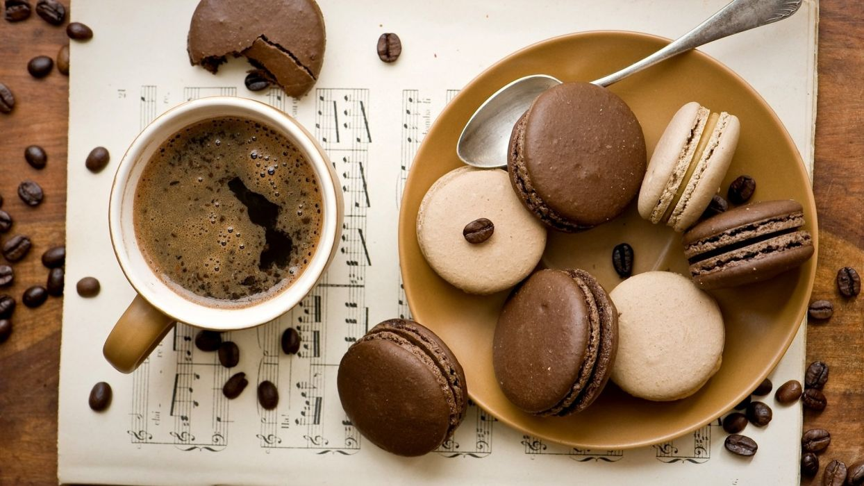delicious cup cookies coffee drinks food wallpaper