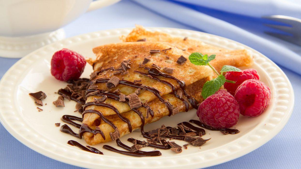 chocolate pancakes delicious food raspberries wallpaper