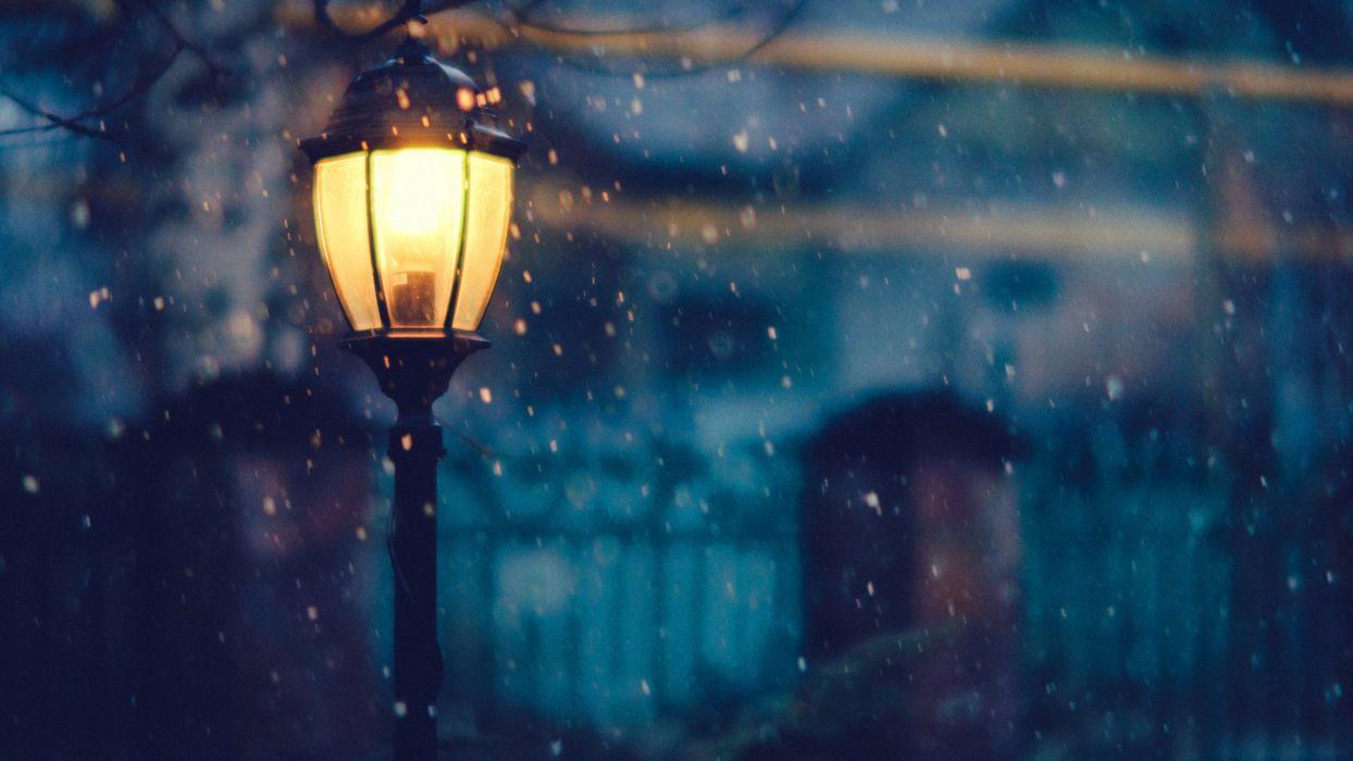 street lamp beautiful winter snow wallpaper