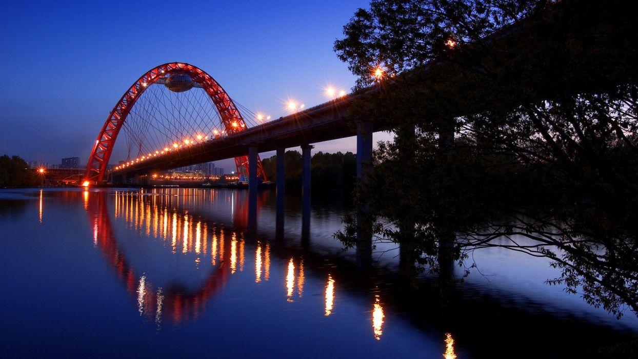 landscape lights night river bridge wallpaper