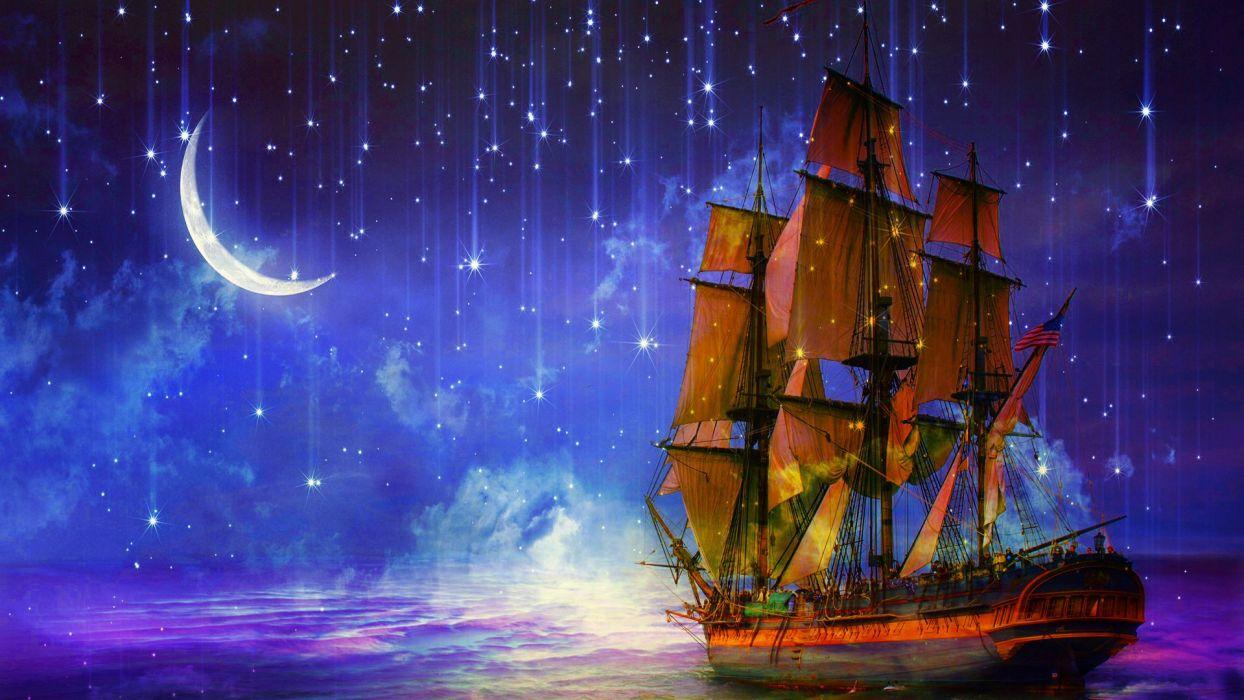 fantasy ship moon stars sky beauty sea ocean clouds landscape wallpaper