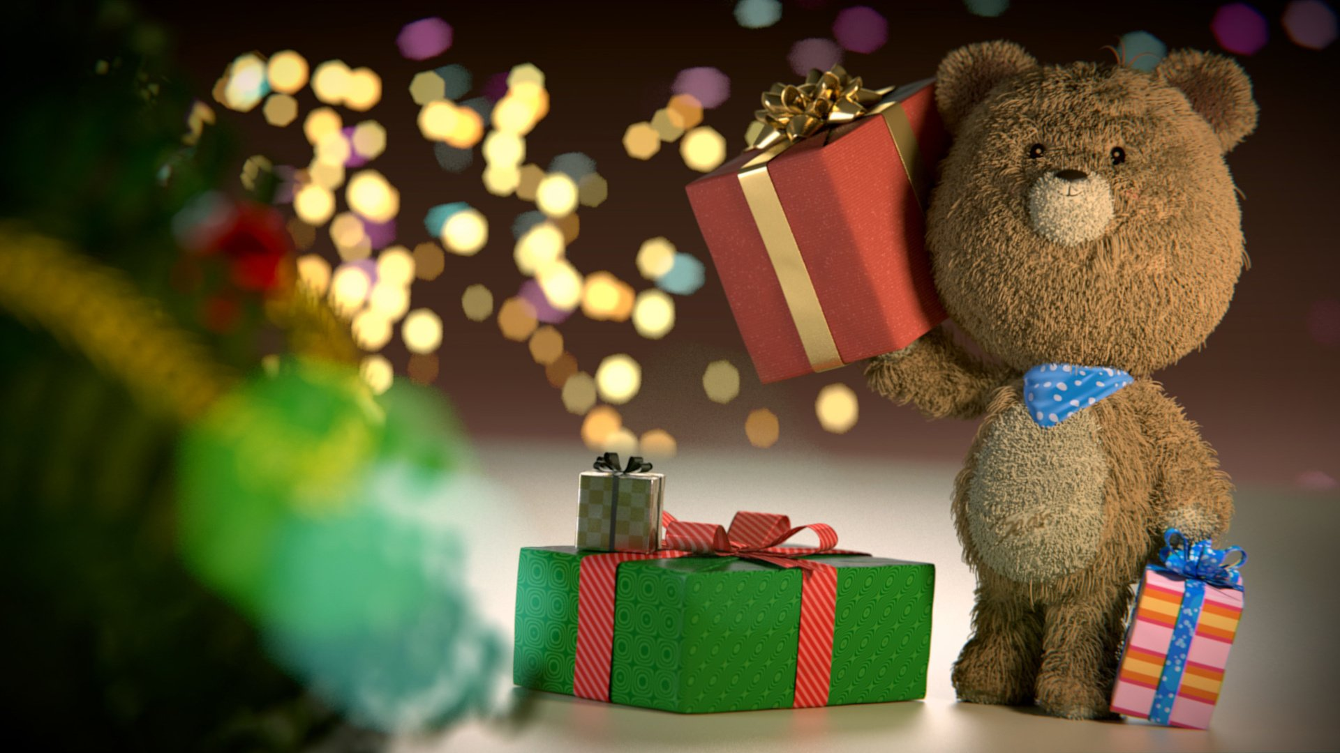 Christmas Teddy Bear Wallpaper: Christmas Gift Teddy Bear Beautiful Moods Wallpaper