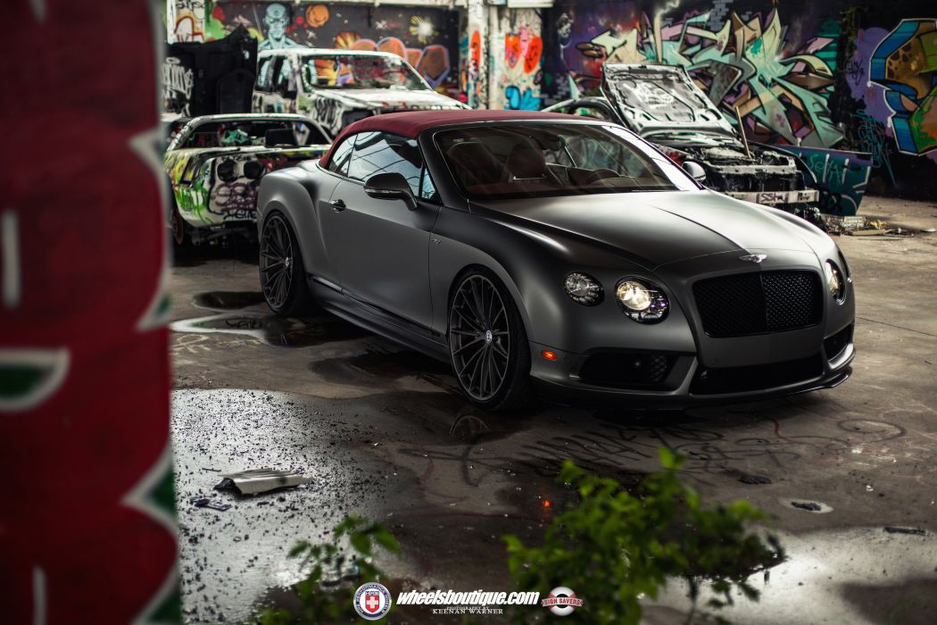 Bentley Continental-GT V8-S black matt convertible cars HRE wheels wallpaper