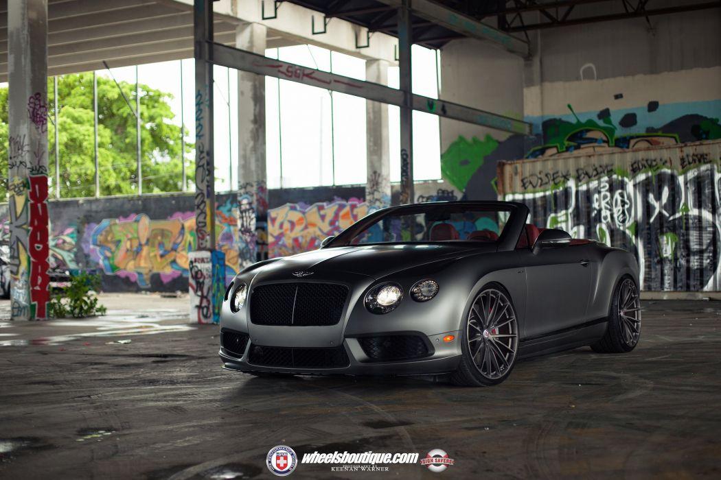 Bentley Continental-GT V8-S black matt convertible cars HRE wheels wallpaper