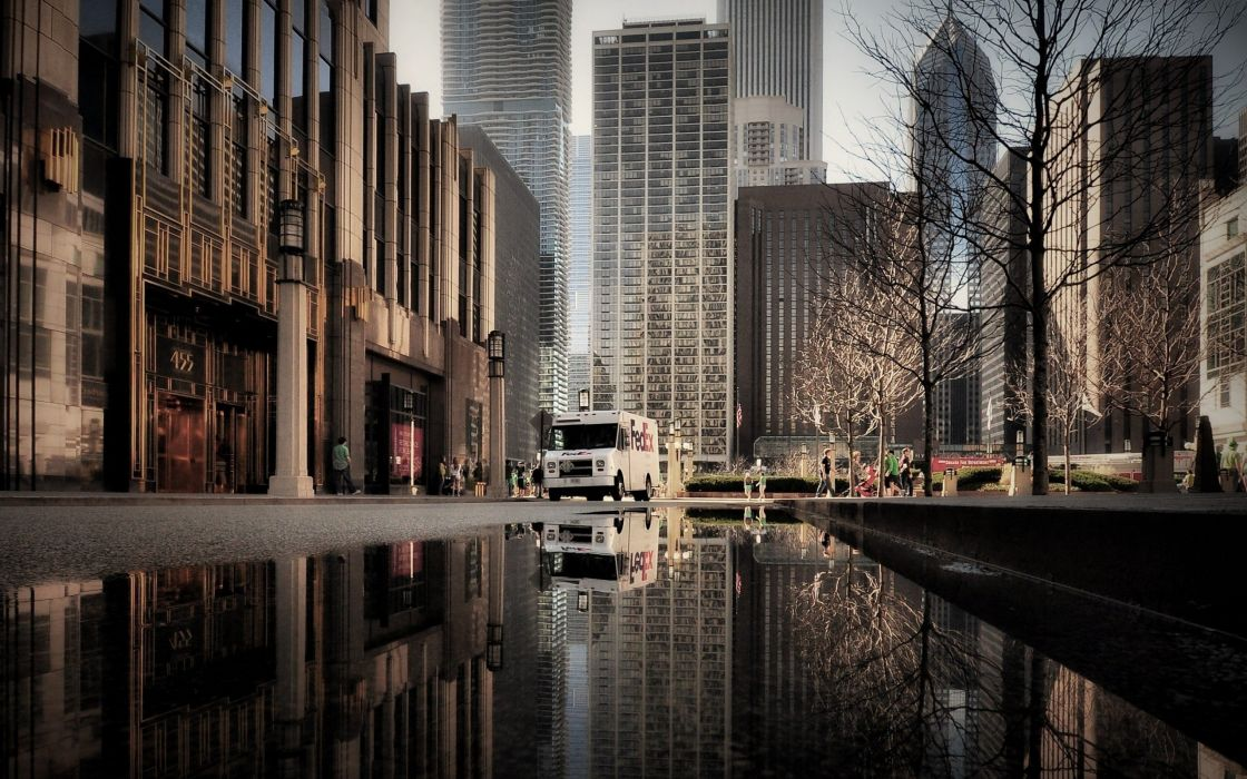 city water people reflection street wallpaper