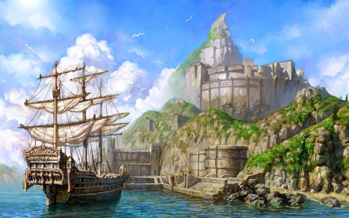 Port painting fantasy ship sea sky wallpaper