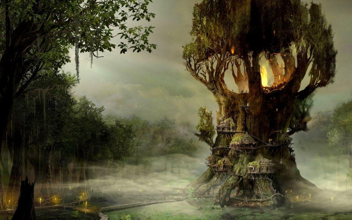 Village on the tree fantasy wallpaper