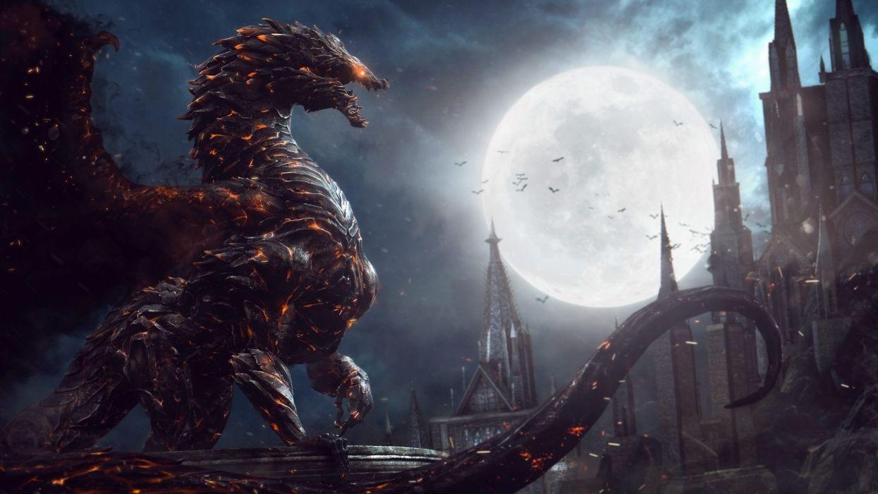 CASTLEVANIA fantasy dark vampire dracula adventure action platform warrior dragon wallpaper