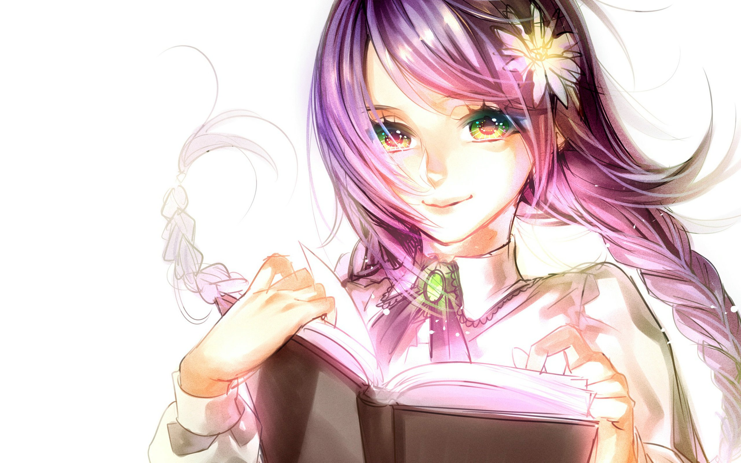 Anime girl purple hair brown eyes