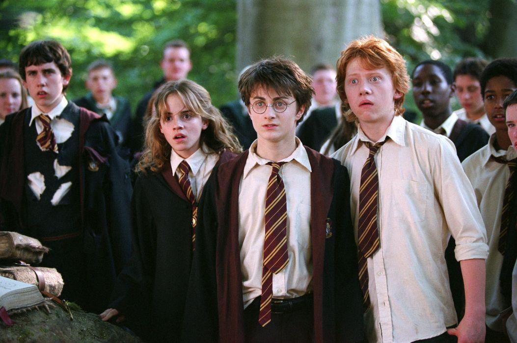 Rupert Grint Matthew Lewis Daniel Radcliffe Emma Watson harry potter movie wallpaper
