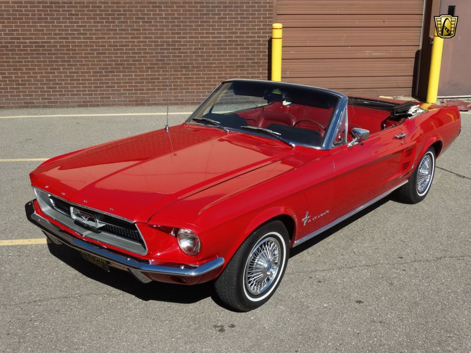 1967 Ford Mustang convertible red cars usa wallpaper