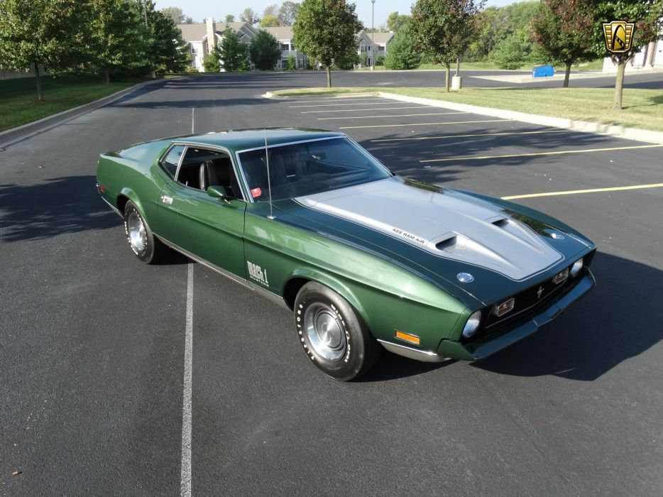 1971 Ford Mustang mach-1 cars green coupe usa wallpaper