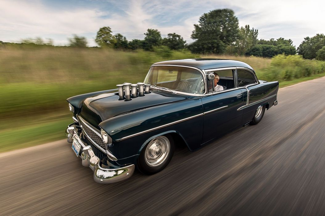 1955 Chevrolet Chevy Bel Air Belair Coupe Pro Street Super Drag USA -01 wallpaper